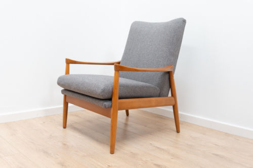 Superb Mid Century Danish Vintage Armchair Lounge Chair Grey 1950's