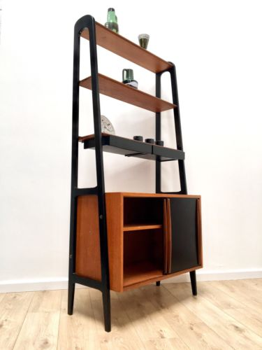 Mid Century Swedish Teak Freestanding Shelving Unit Wall Unit With Cupboard