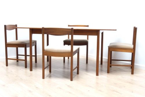 Mid Century Vintage Teak McIntosh Extending Dining Table & 4 Chairs /498