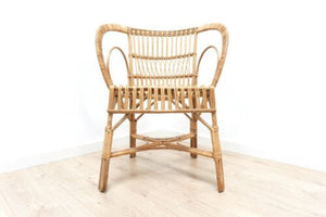 Stylish Mid Century Vintage Bamboo Cane & Wicker Armchair /1313