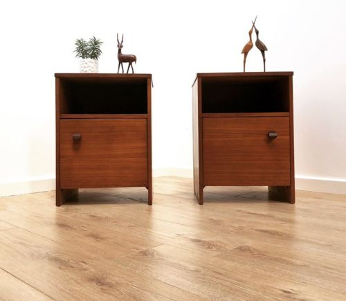 Pair Mid Century Vintage Teak Bedside Cabinets Cupboards By Avalon