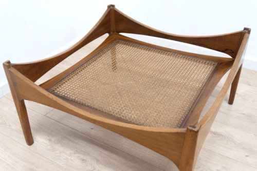 Mid 20th Century Vintage Teak Coffee Table Floating Glass Top Woven Mag Rack 132