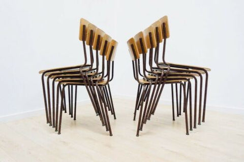 Mid Century Vintage Teak Ply Metal Industrial Stacking Lab Chairs 1960's 1116