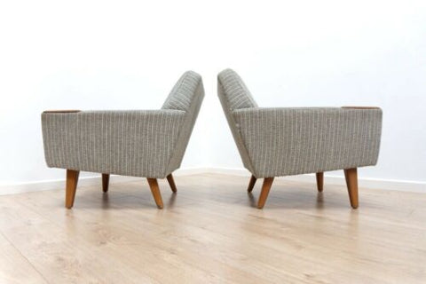 Mid Century Danish Vintage Teak Lounge Chairs Armchairs 1950's 1 of 2 /1043