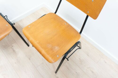 Set of 8 Mid Century Vintage Teak Industrial Black Metal Stacking Chairs /956