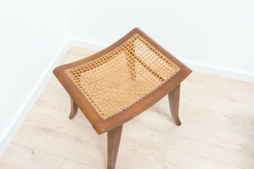 Mid Century Danish Vintage Teak Dressing Table Stool Rattan Woven Seat /1008