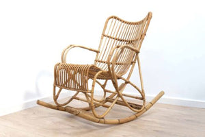 Stunning Mid Century Vintage Bamboo Wicker Cane Rocking Chair 445