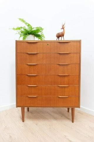 Mid Century Danish Vintage Teak Tallboy Chest Of Drawers 1950's /1379