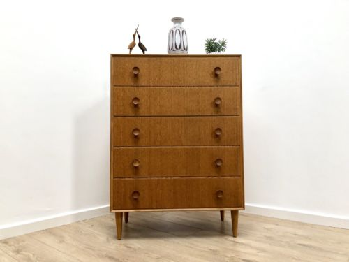Mid Century Vintage Blonde Teak Tallboy Chest Of Drawers By Meredew