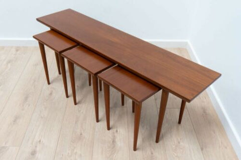 Rare Mid Century Vintage Danish Teak Nest Of Coffee Tables 1950's /787