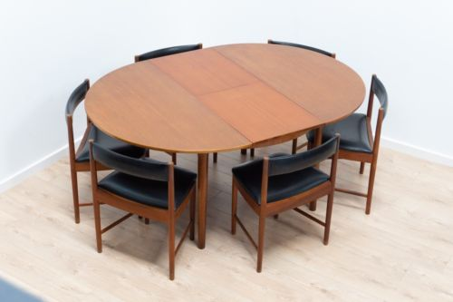 Mid Century Vintage Teak McIntosh Ext Dining Table & Set of 6 Dining Chairs