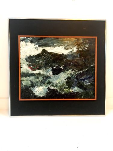 Original Mid Century Abstract Oil On Board Signed Framed