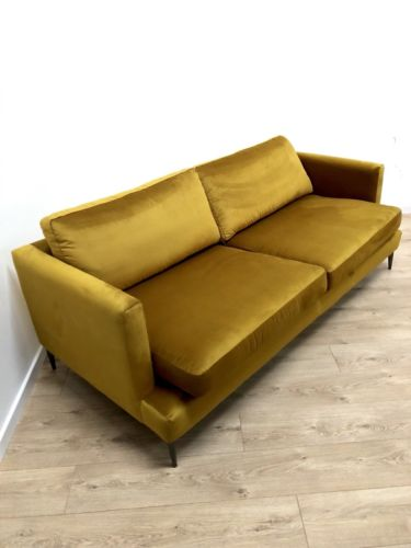 NEW John Rocha Velvet Mustard Gold Retro Inspired 3 Seater Sofa Settee