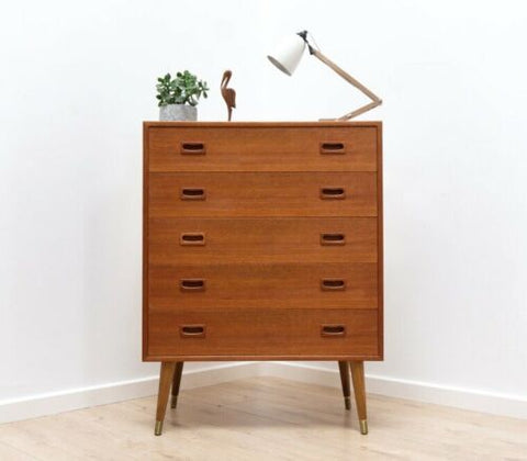 Superb Mid Century Vintage Swedish Teak Tallboy Chest Of 5 Drawers 1950's /782