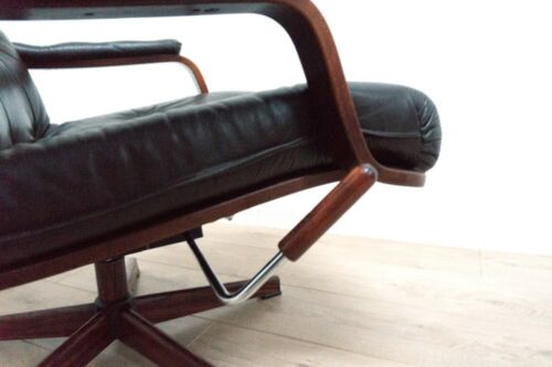 Midcentury Danish Vintage Leather Rosewood Swivel Tilt Armchair 1950's /1534