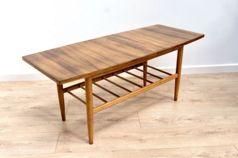 Mid Century Vintage Retro Zebrano Teak Coffee Table With Magazine Rack /304