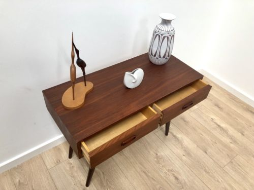 Mid Century Vintage Danish Teak Low Console Side Table With Drawers