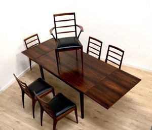 Danish Mid Century Rosewood Dining Table With 6 McIntosh Rosewood Dining Chairs