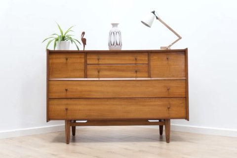 Rare Mid Century Vintage Alfred Cox Walnut Tallboy Chest of Drawers /383