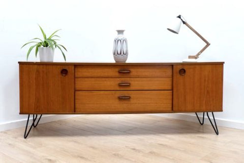 Mid Century Vintage Teak Avalon Low Sideboard TV Media Unit Hairpin Legs /387