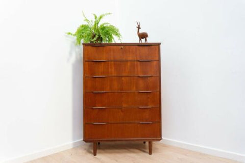 Mid Century Danish Vintage Teak Westergaard Tallboy Chest Of 6 Drawers / 1167