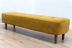 NEW Retro Inspired Modernist Footstool Ottoman Mustard Velvet Fabric Teak Legs