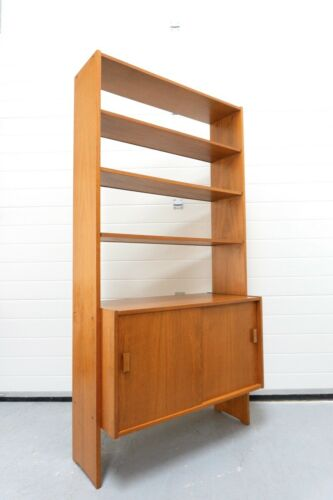 Mid Century Swedish Vintage Teak Freestanding Shelving Bookcase Unit /1222