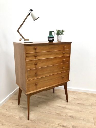 SUPERB MID CENTURY VINTAGE ALFRED COX FOR HEALS TALLBOY CHEST OF DRAWERS