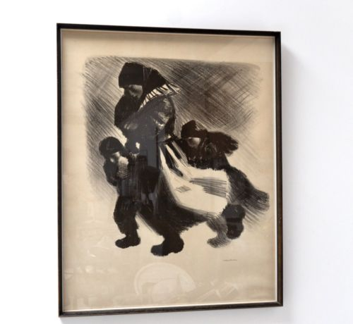Original 20th Century Danish Art Framed Charcoal Painting Hansen 1960's /191