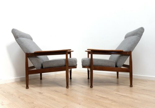 Pair Mid Century Guy Rogers Manhattan Vintage Teak Armchair Lounge Chair /1407