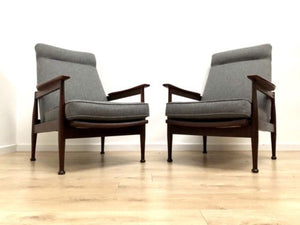 Mid Century Vintage Teak Guy Rogers Manhattan Grey Armchair 1 of 2