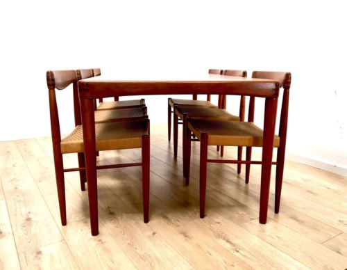 Mid Century Danish Teak Dining Table 6 Paper Cord Chairs By H W Klein Bramin