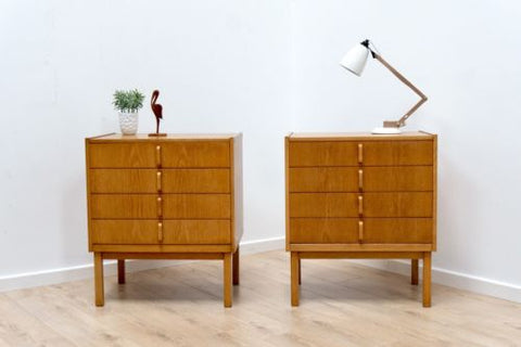 Pair Mid Century Vintage Light Teak Swedish Bodafores Bedside Drawers /112