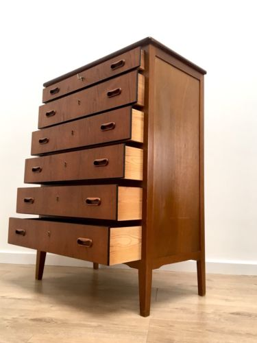 Stunning Mid Century Vintage Danish Teak Tallboy Chest Of 6 Drawers 1960's