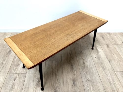 Mid Century Vintage Blonde Surfboard Coffee Table with Black Dansette Legs