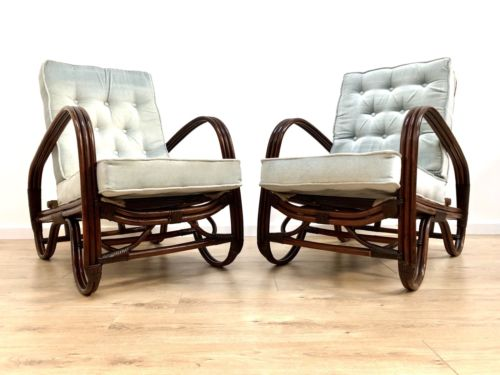 Rare Mid Century Vintage Angraves Invincible Cane Wicker Arm Chairs