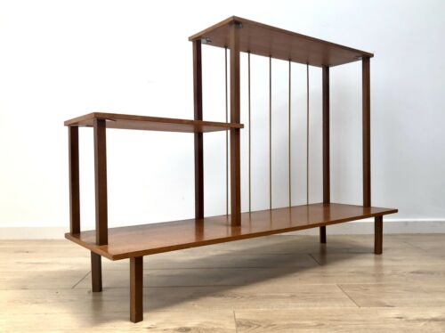 Stylish Mid Century Modernist Teak Room Divider Shelving Display Stand 761