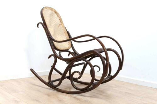 Original Vintage Bentwood Thonet Design Rocking Chair With Woven Seat /362