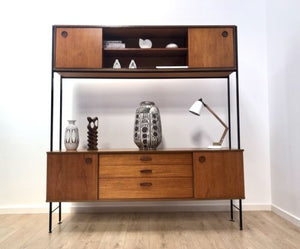 Spectacular Mid Century Vintage Teak And Metal Shelving Wall Unit By Avalon