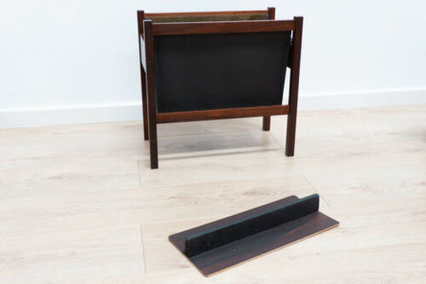 Rare Mid Century Danish Rosewood & Leather Magazine Rack 1960's