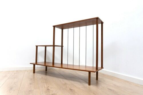 Mid Century Vintage Teak Freestanding Shelving Room Divider Hall Unit /1001