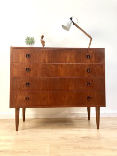 Stunning Mid Century Vintage Danish Teak Chest Of 4 Drawers