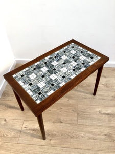 Mid Century Danish Vintage Rosewood Tiled Top Coffee Side Table 1960's