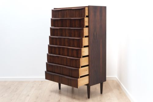 Rare Mid Century Vintage Danish Rosewood Tallboy Chest Of 8 Drawers 1950's