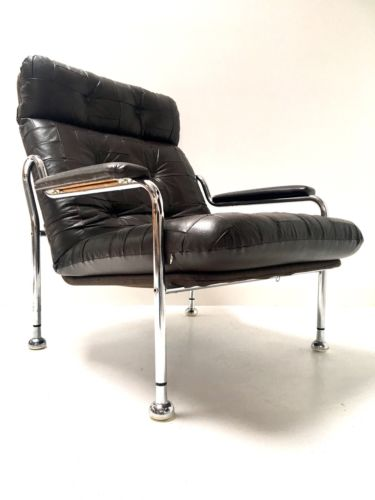 Mid Century Swedish Vintage Modernist Leather and Chrome Armchair Lounge Chair