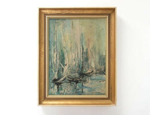 Original Mid Century Vintage Retro Framed Painting on Canvas 1960's /978