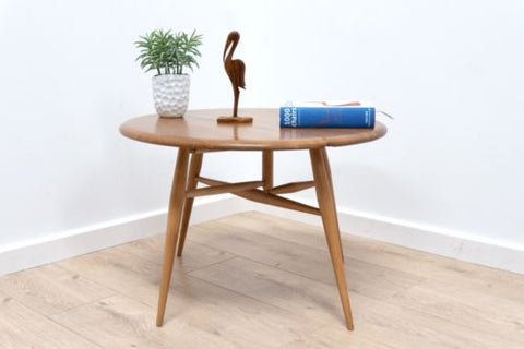 Mid Century Original Vintage Blonde Ercol Coffee Table With Drop Leaf