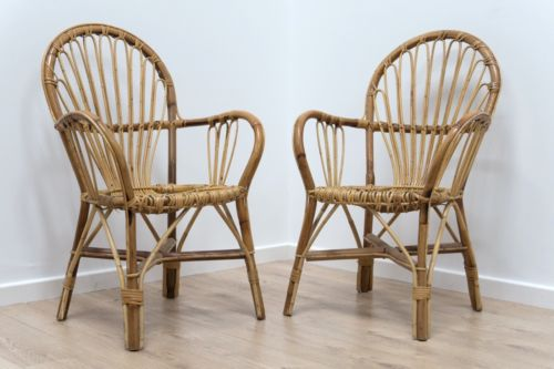 Pair Mid Century Vintage Cane Wicker Arm Chairs 1960's