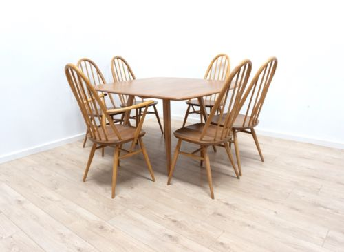 Mid Century Vintage Ercol Dining Table & 6 Windsor Quaker Dining Chairs /209