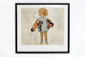 Rare Vintage Jef Wauters Framed Colour Lithograph 'Isabelle With Her Dolls' /312